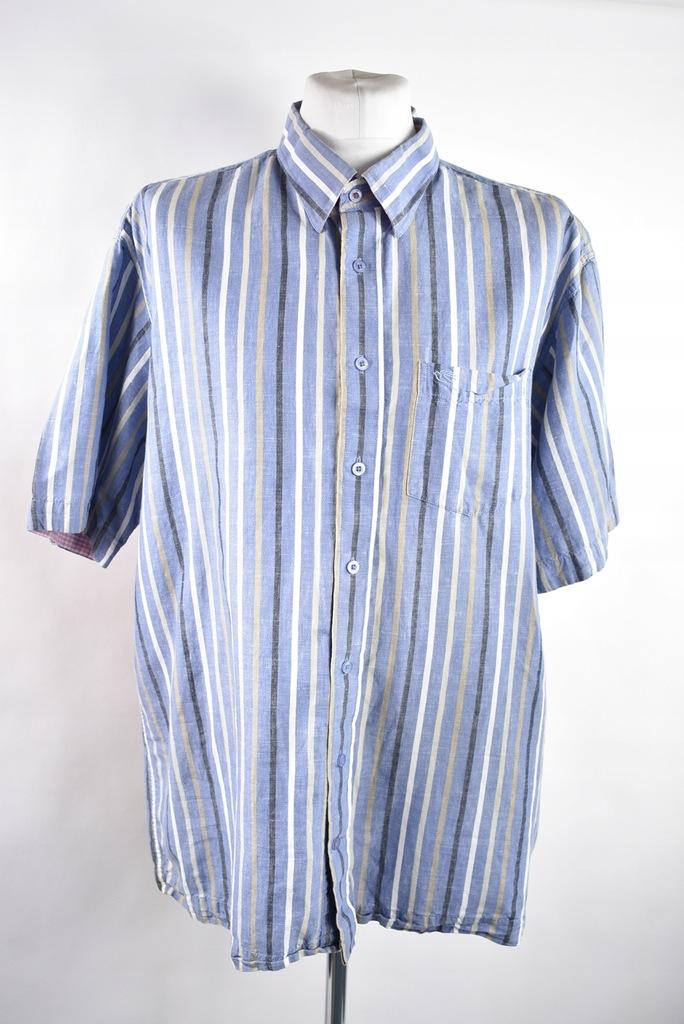 KARTEL koszula lniana niebieska w paski r.2XL