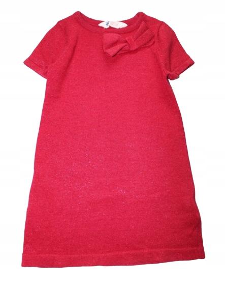 H&M Elegancka Tunika Sweter Czerwona 98 104