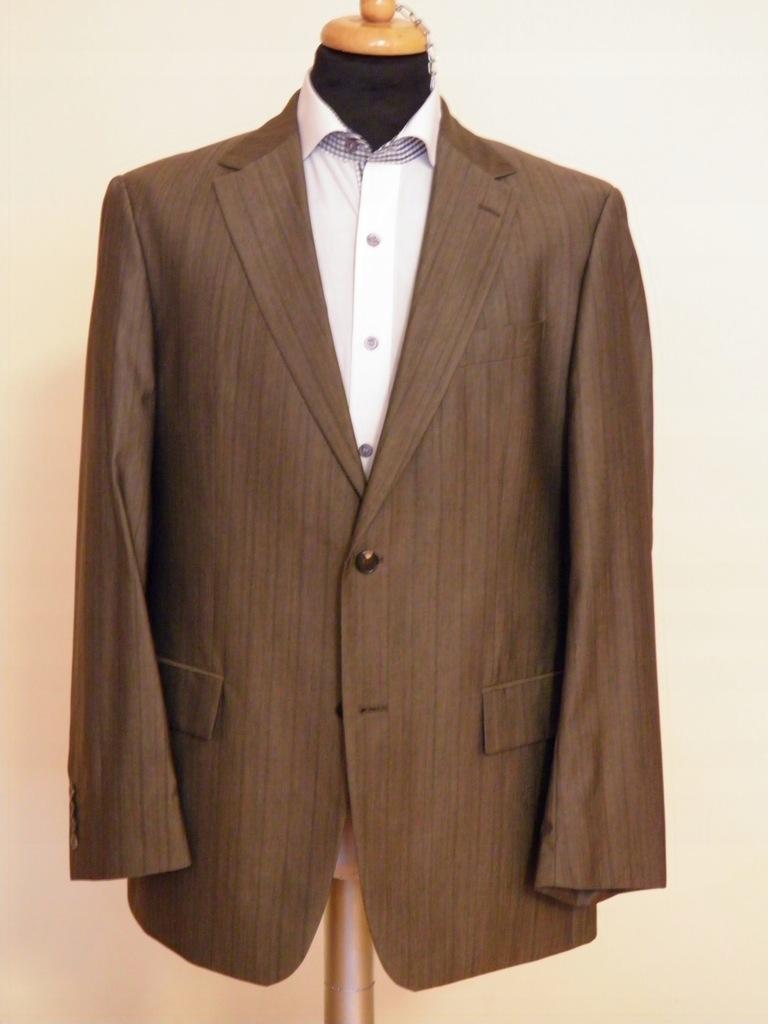 1. Garnitur brązowy, wełna, jedwab,Pierre C, 52(L)