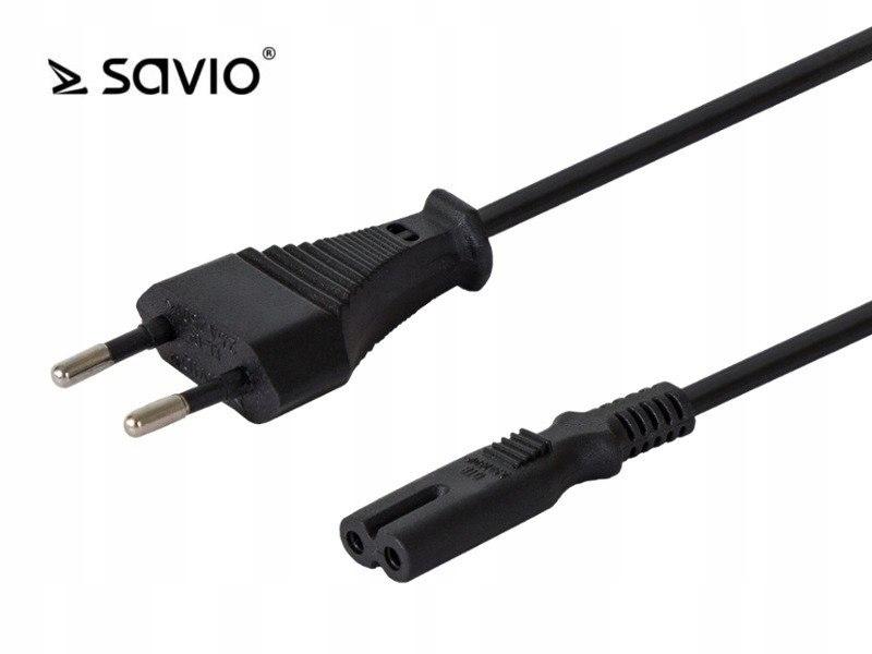 Kabel zasilający płaski ósemka SAVIO CL-100 2pin,
