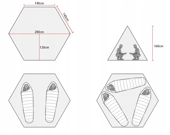 Namiot 3F UL Gear Tipi 2os 1,6kg, ultralight nylon