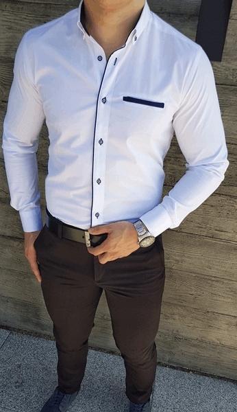 Biała biznesowa koszula męska długi rękaw XXL 7685678756  TaAZN