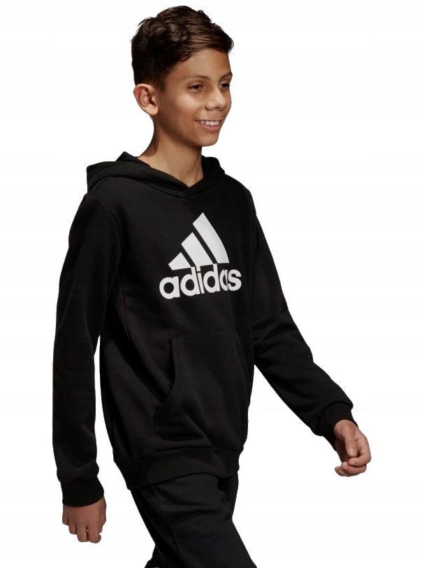 bluza adidas czarna dziecięca z kapturem 104