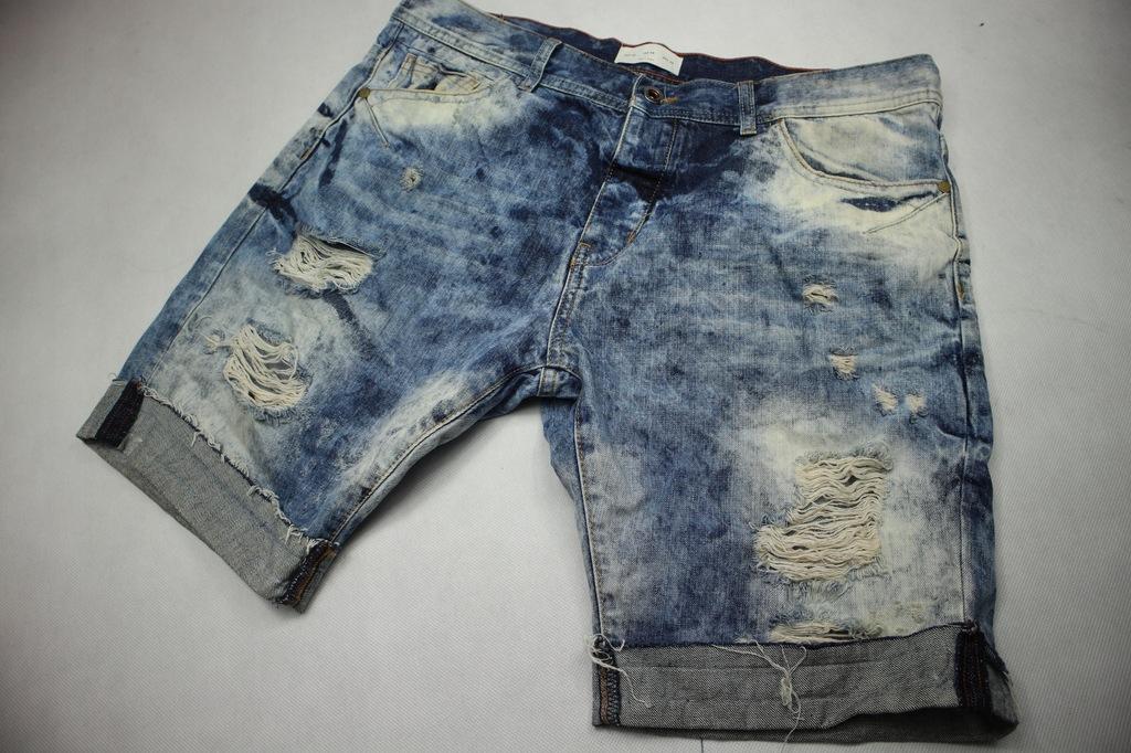 Zara Man spodenki szorty jeans przetarcia 46