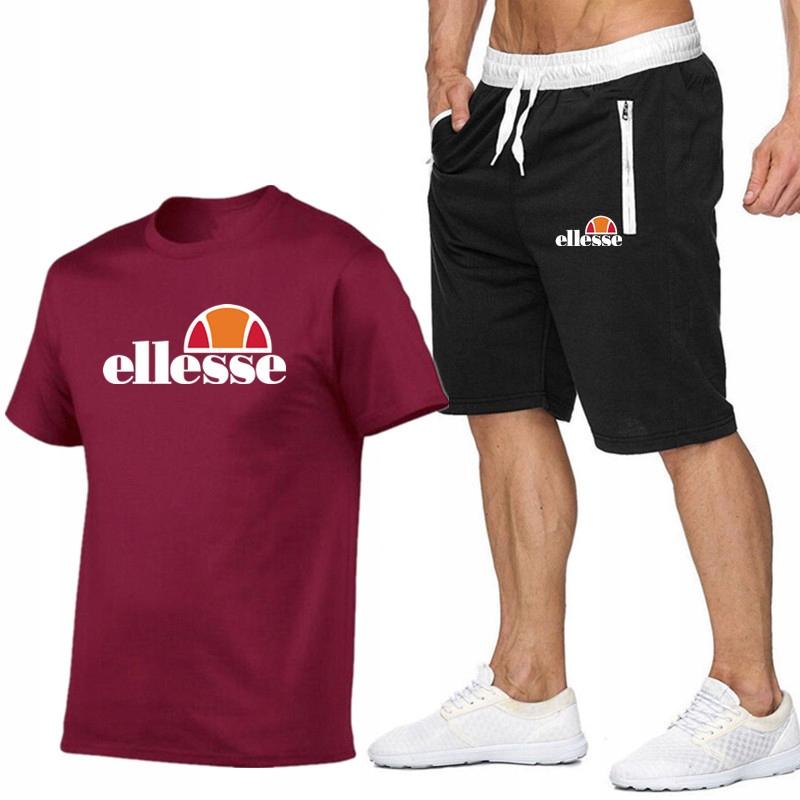 T-shirt BORDOWY+ Spodenki Ellesse R L MPA WYGODNE