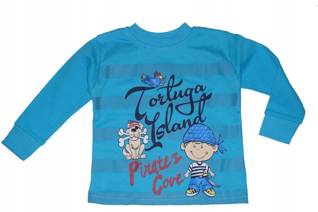 bluzka bluzeczka rękaw 86 bluza pirat niebieski