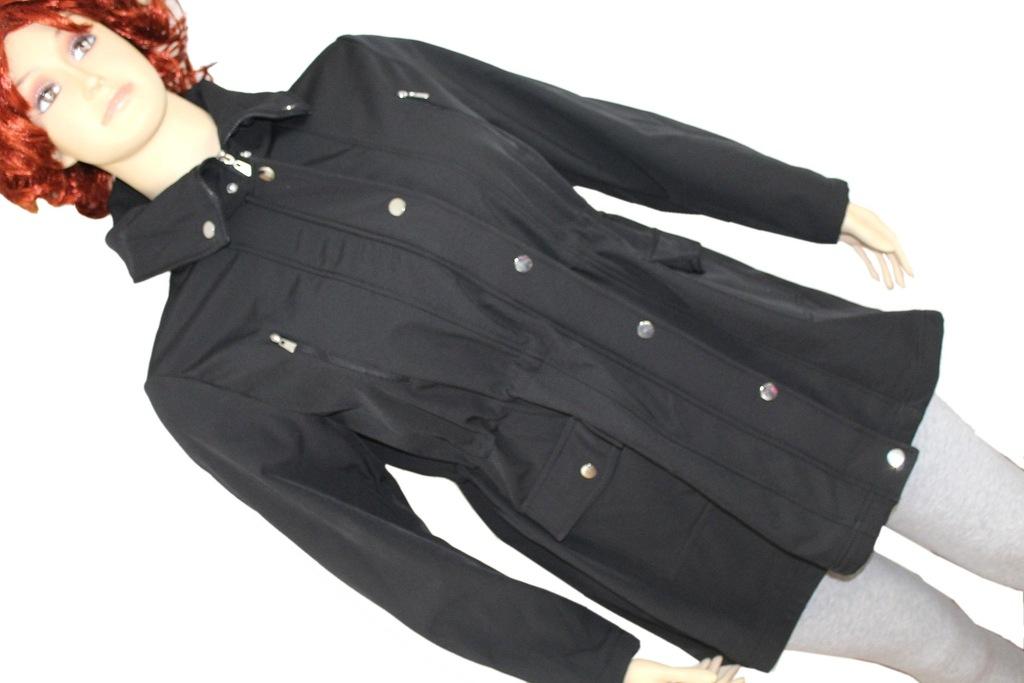 lekka lniana kurtka 34 rękaw plus size czarna dłuższa