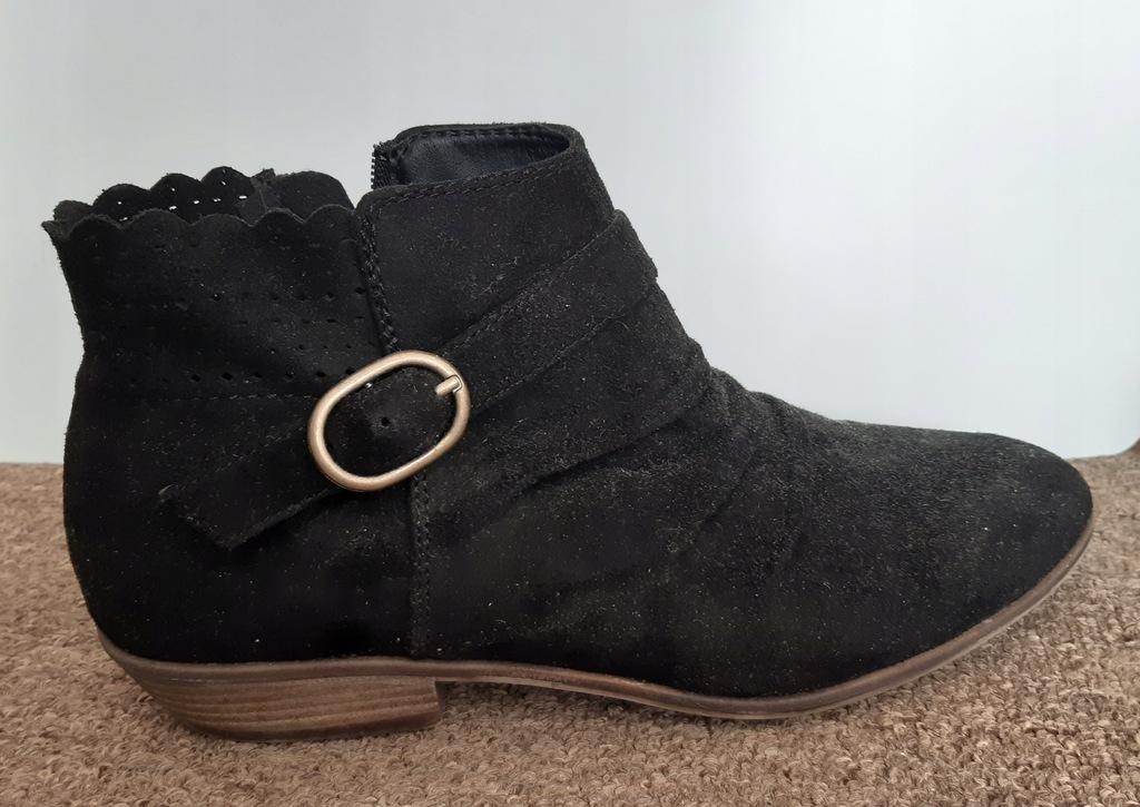 Czarne zamszowe botki półbuty buty zamsz r.39