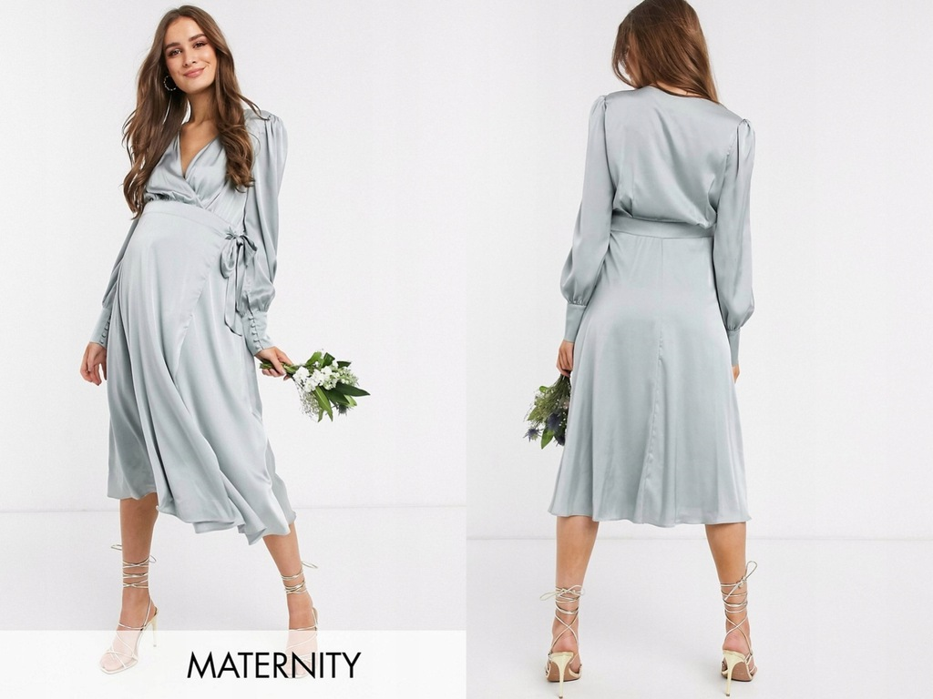 TFNC Maternity Satynowa Sukienka Midi S/36