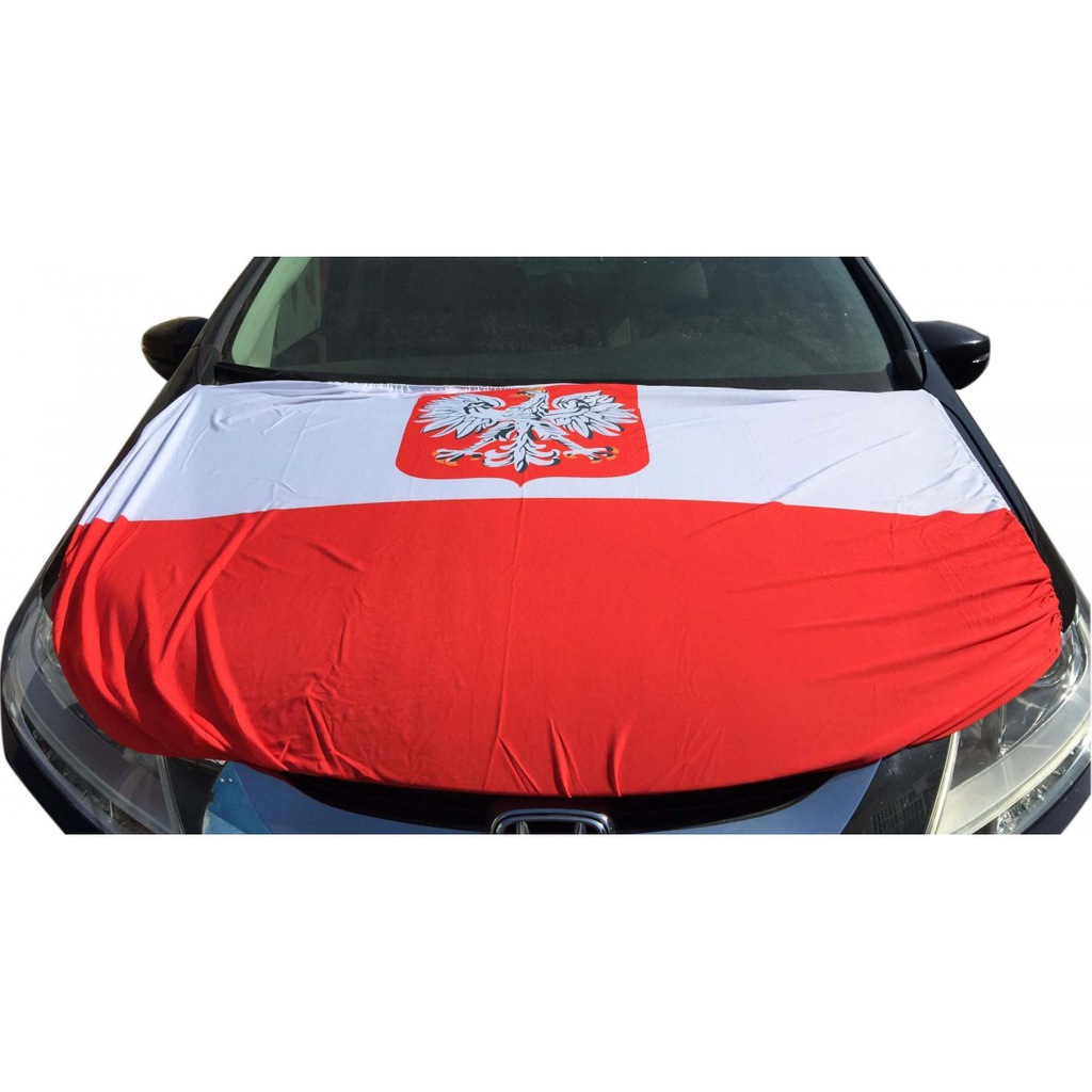 Pokrowiec na MASKĘ -FLAGA Samochodowa POLSKA Kibic
