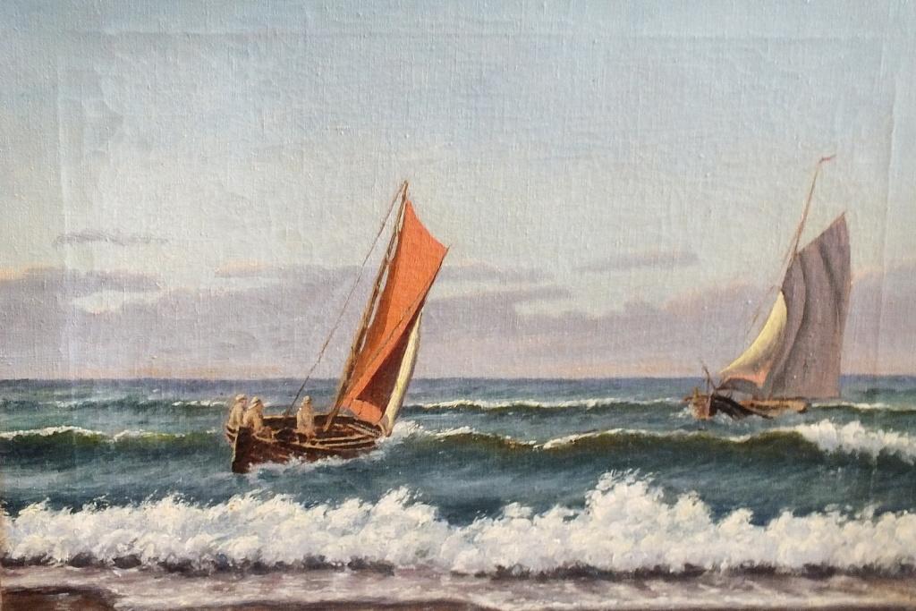 """Obraz olejny """" Kutry na morzu"""" C.Holsi"""