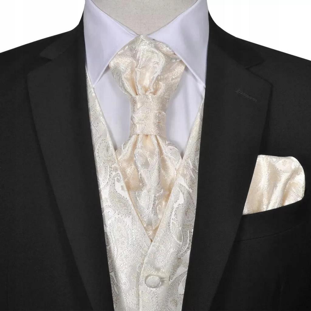 Męska kamizelka ślubna ze wzorem z krawatką