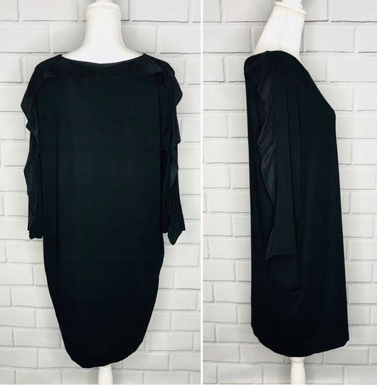 COS frill sleev jedwabne dress black kieszenie 36