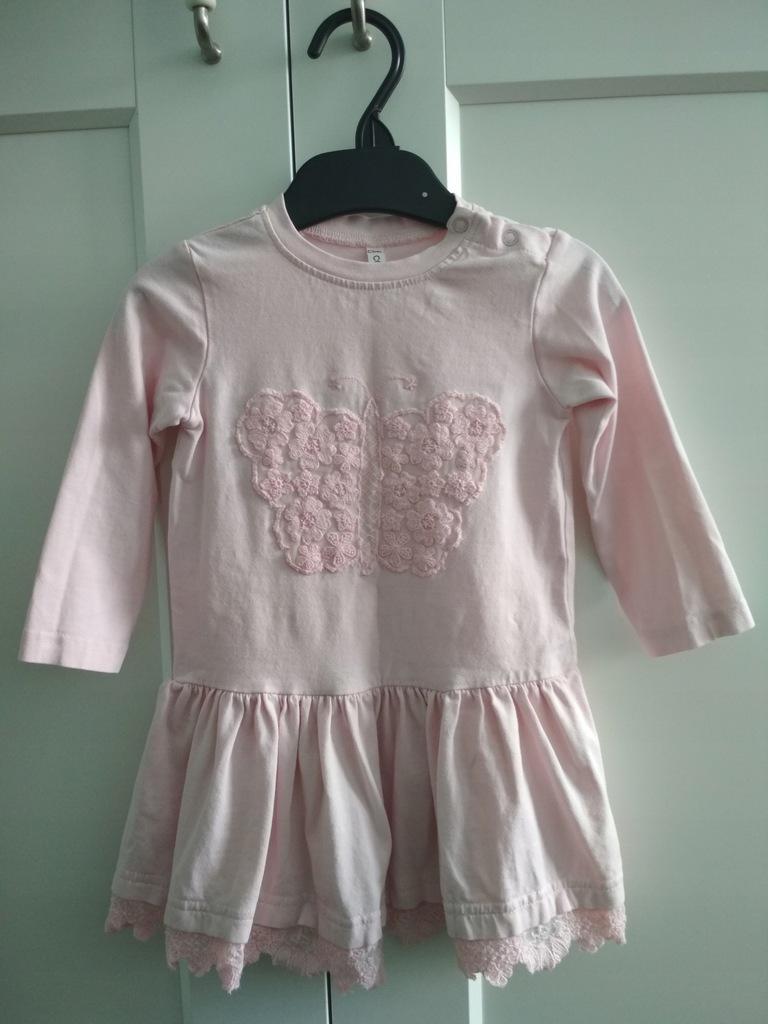 Sukienka różowa Coccodrillo 9-12 m-cy / 80 cm