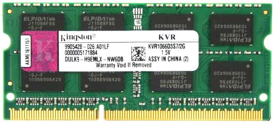 Kingston SO-DIMM DDR3 2GB 1066MHz KVR1066D3S7/2G