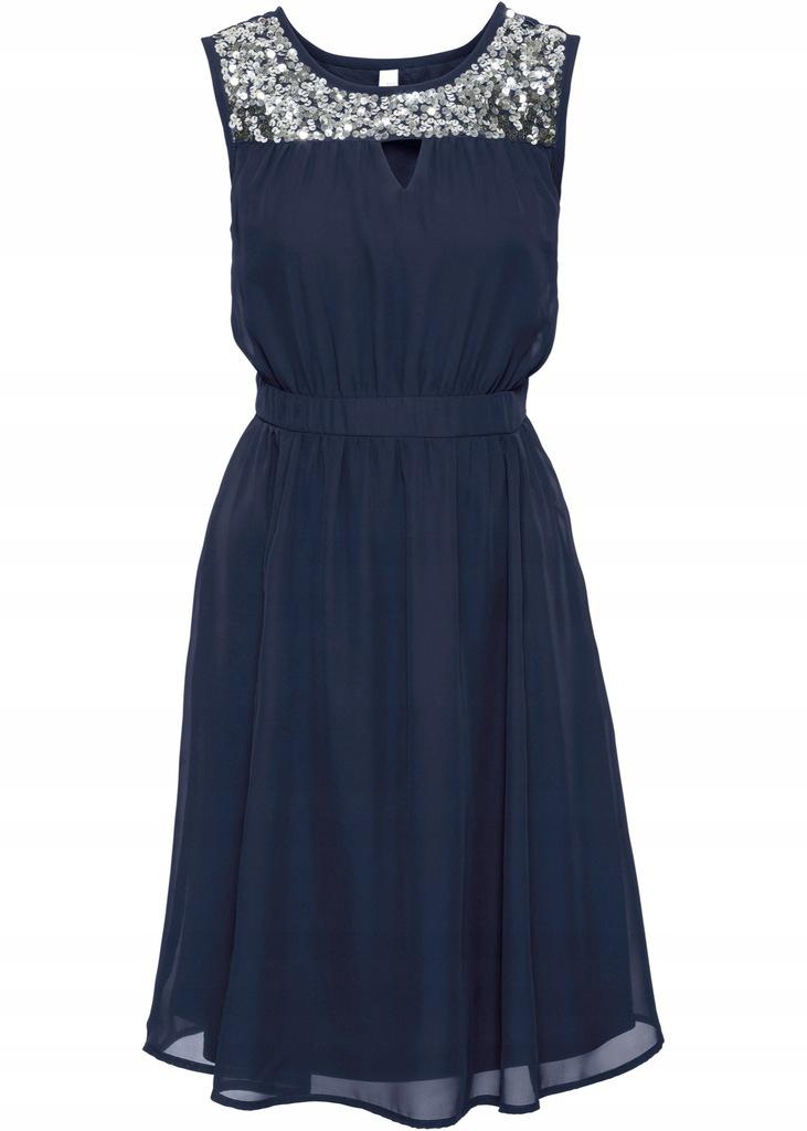 C409 BPC Sukienka wieczorowa z cekinami WESELE 42