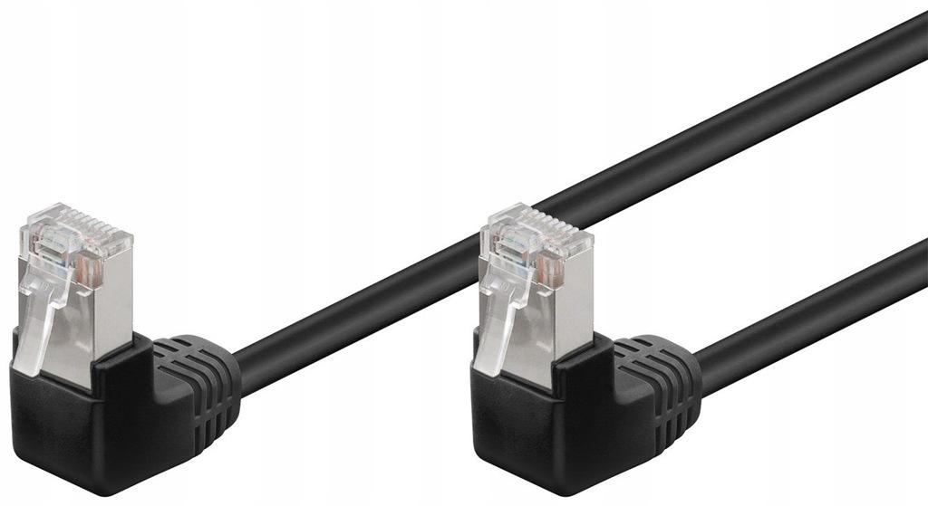 Kabel LAN Patchcord CAT 5E F/UTP 2x90 CZARNY 5m