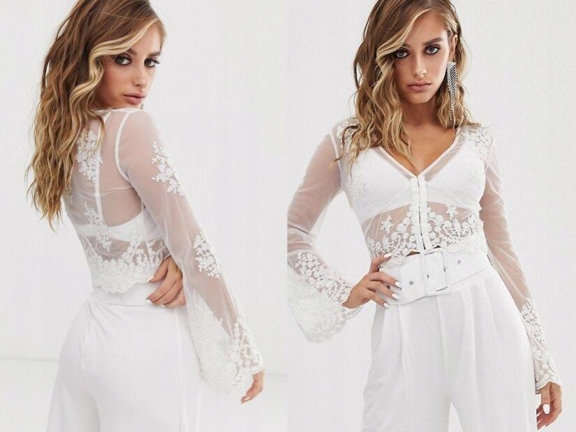 Design biała siateczkowa bluzka haft L/40