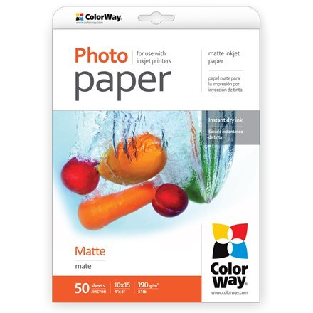 ColorWay Matte Photo Paper, 50 sheets, 10x15, 190