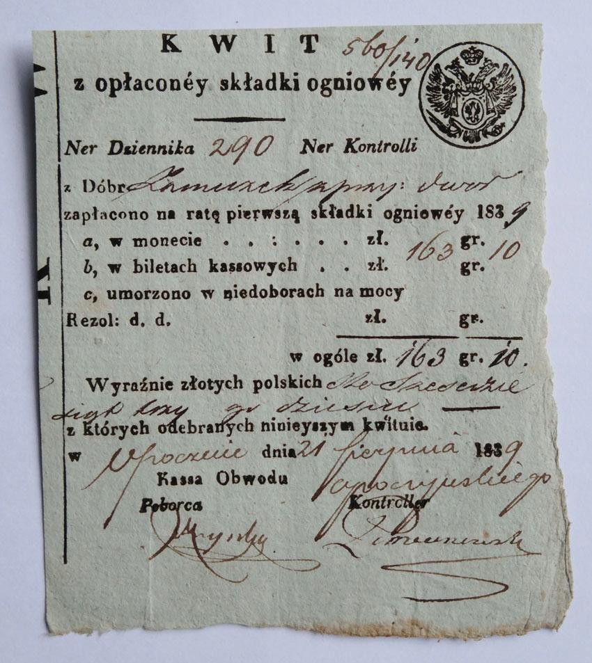 Kwit na składkę ogniową, Opoczno 1839