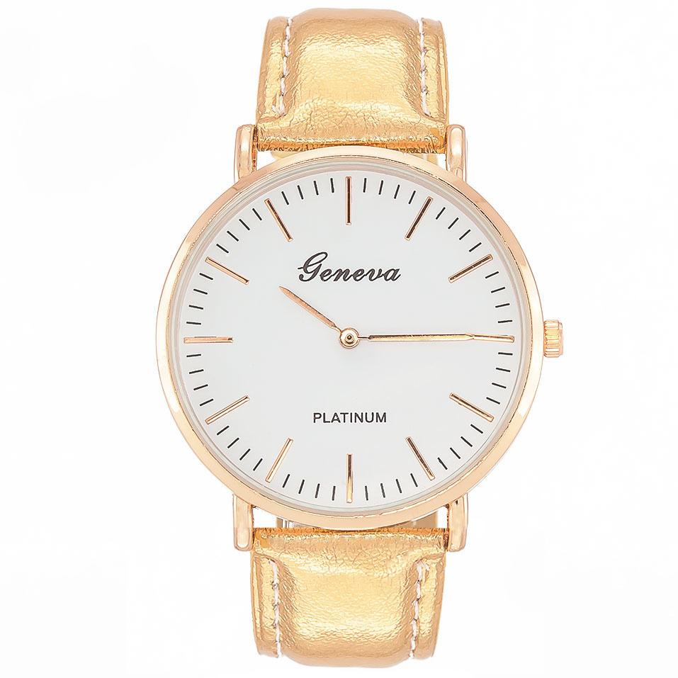 Zegarek damski złoty GENEVA błyszczący pasek