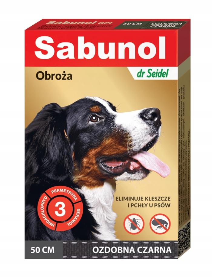 SABUNOL GPI obroża ozdobna czarna przeciw kleszczo