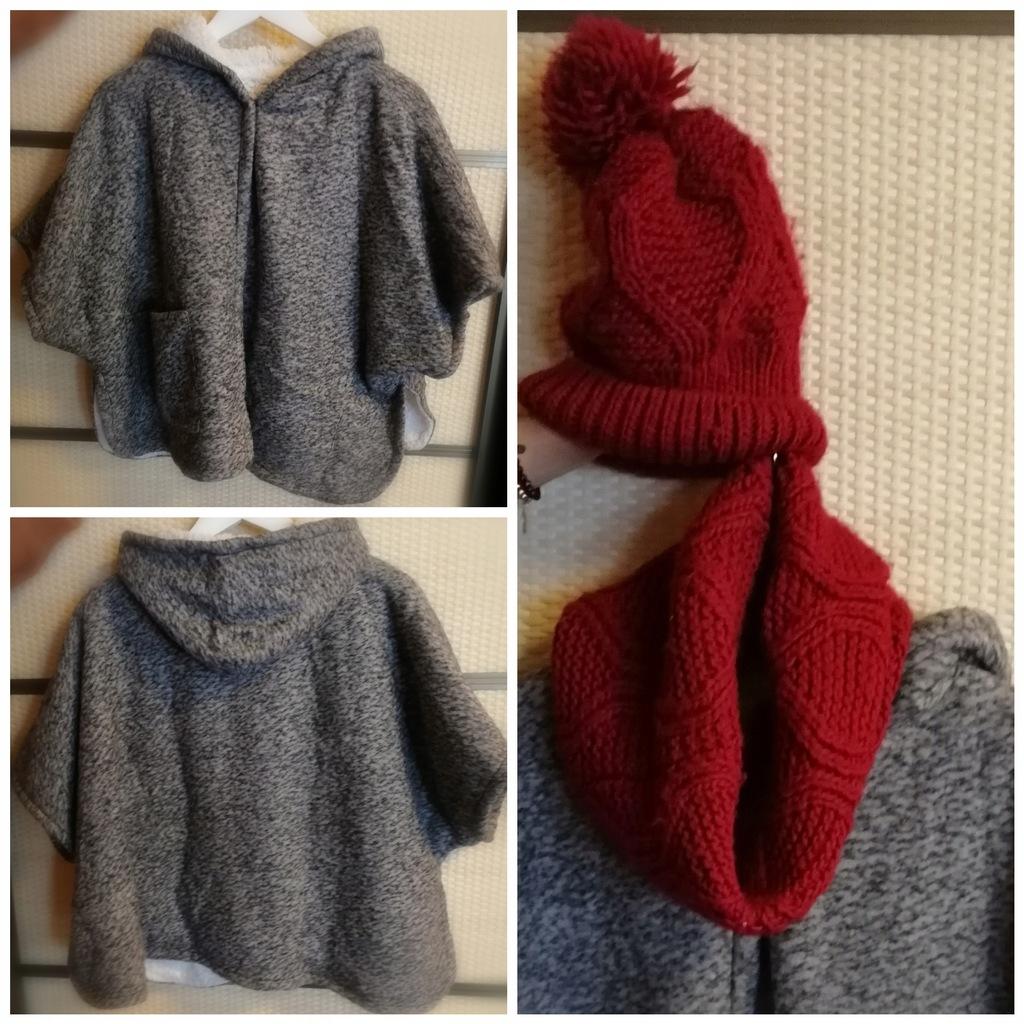 Ponczo peleryna 152 Zara gratis czapka szalik