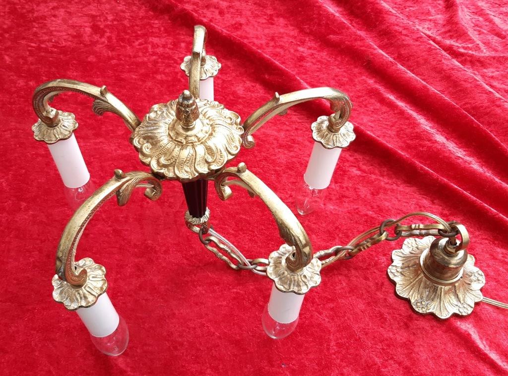 PIĘKNA LAMPA MOSIĄDZ bogato zdobiona 5 -ramienna