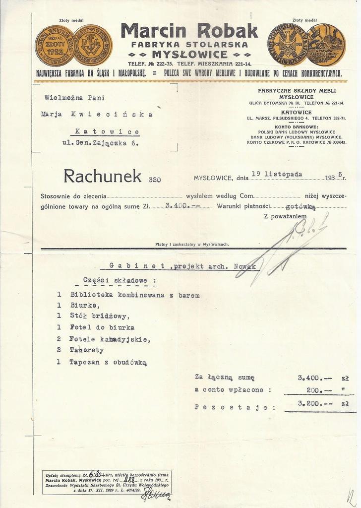 MARCIN ROBAK FABRYKA STOLARSKA MYSŁOWICE 1935