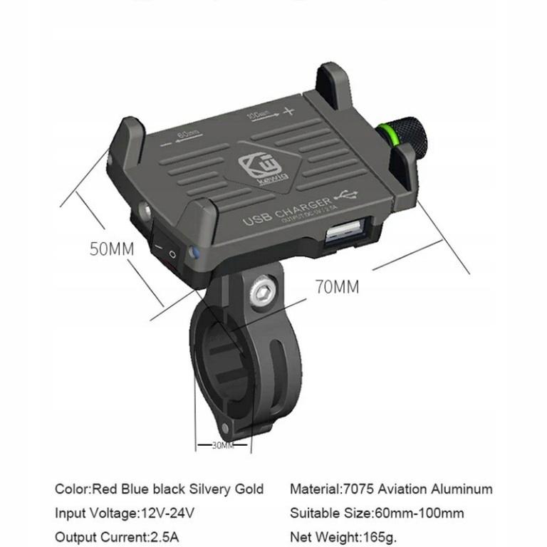 MOTOCYKLOWY UCHWYT NA TELEFON Z ŁADOWARKĄ USB 2.5A