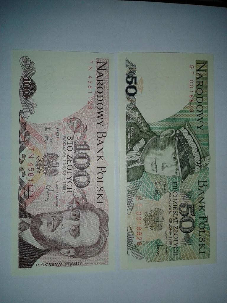 Banknoty 50 i 100 zł unc- serie GT i TN