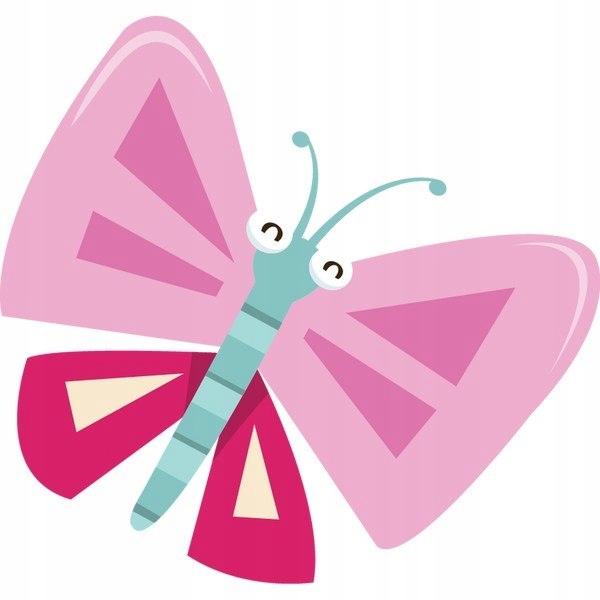 Różowo niebieski motyl 30x30cm naklejka dziecko śc
