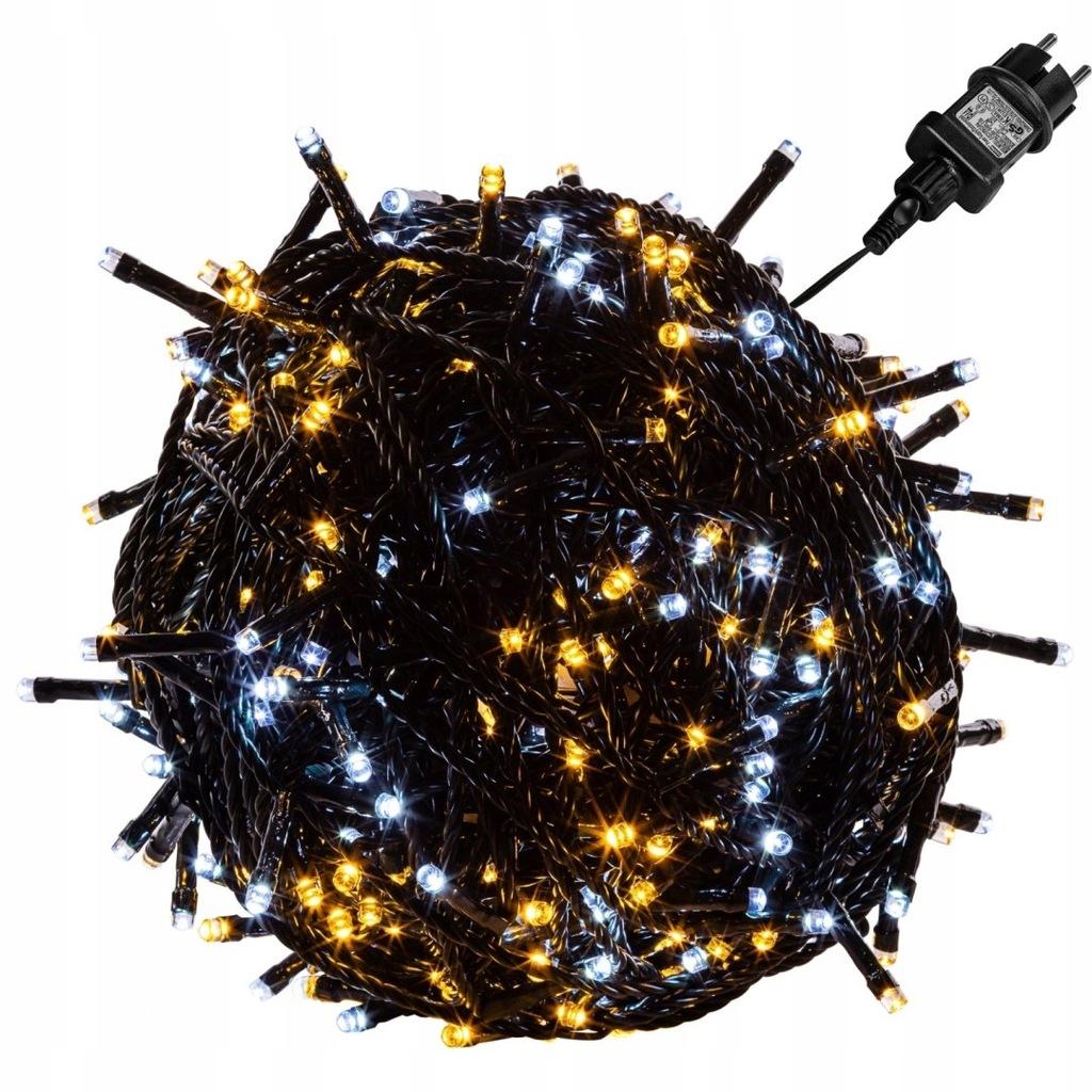 Lampki 600 LED ciepłe/zimne, kabel zielony