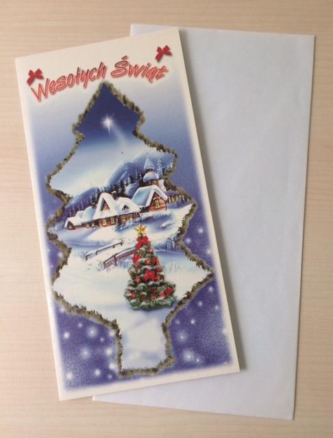 KARTKA ŚWIĄTECZNA Boże Narodzenie + KOPERTA