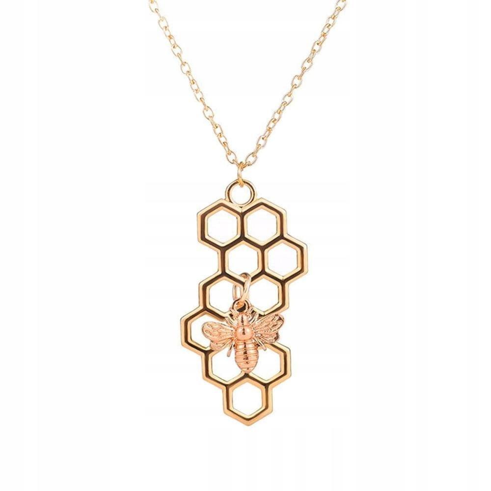 Naszyjnik plaster miodu z pszczołą kolor Złoty