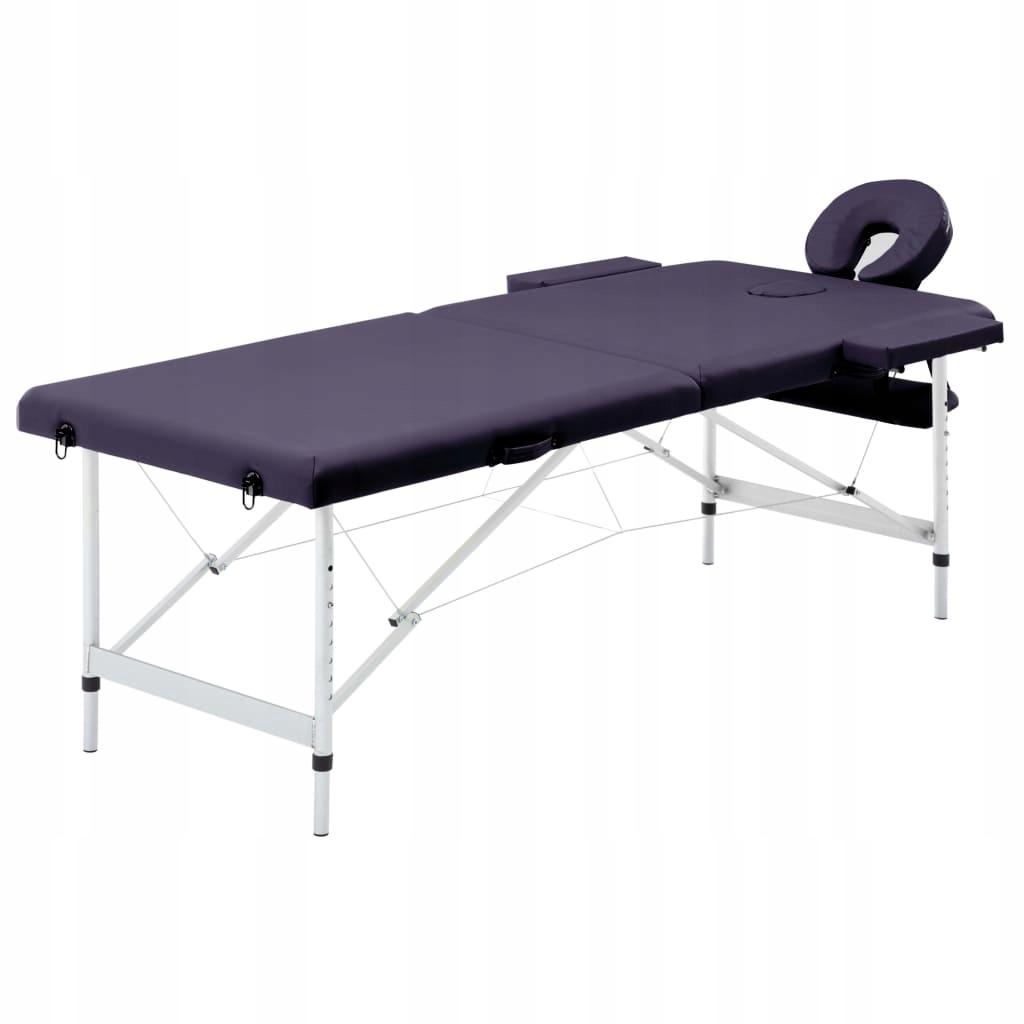 Składany stół do masażu, 2 strefy, aluminiowy, win