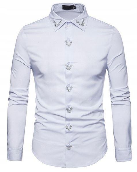 Koszula męska ze stójką kołnierzem złoty haft XL