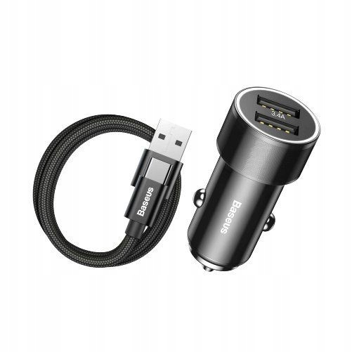 BASEUS 2IN1 2-PORT CAR CHARGER + TYPE-C CABLE BLAC