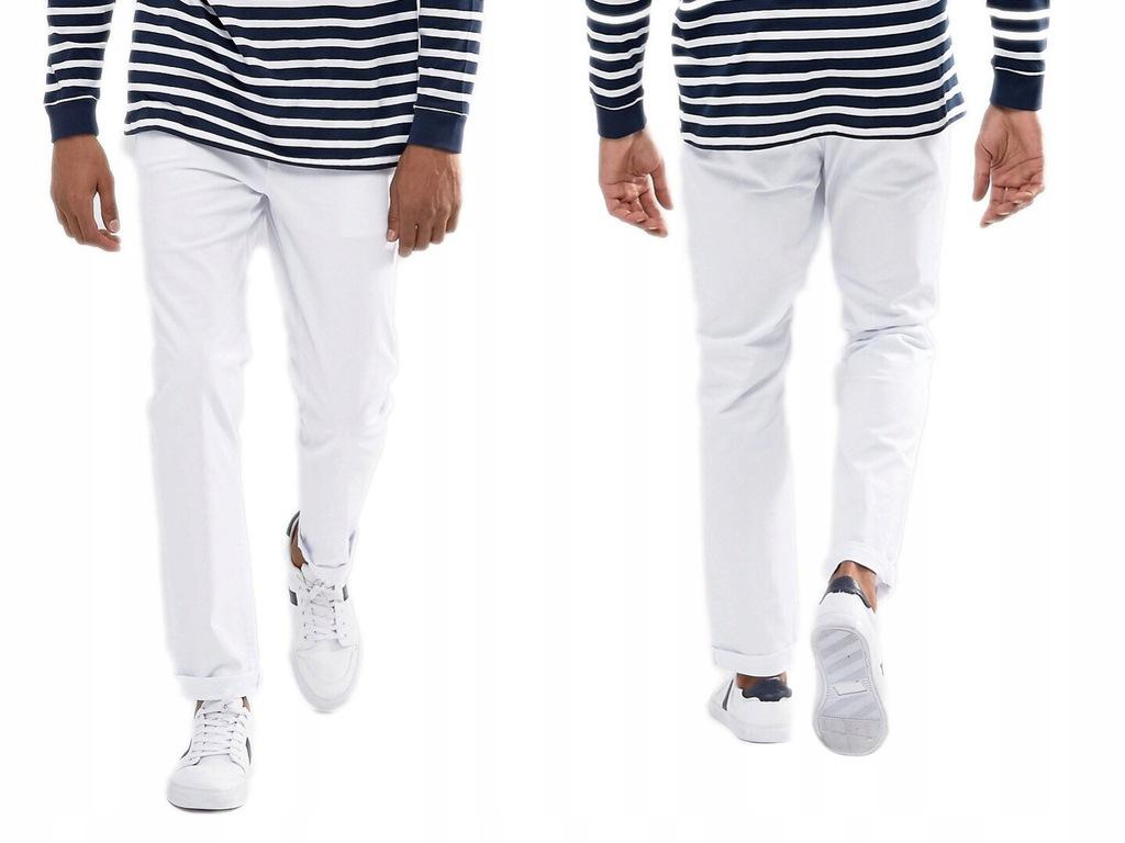 Białe Spodnie Proste Slim W31/L32