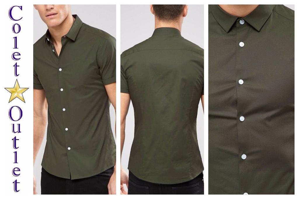 mo78 koszula zielona z krótkim rękawem skinny M