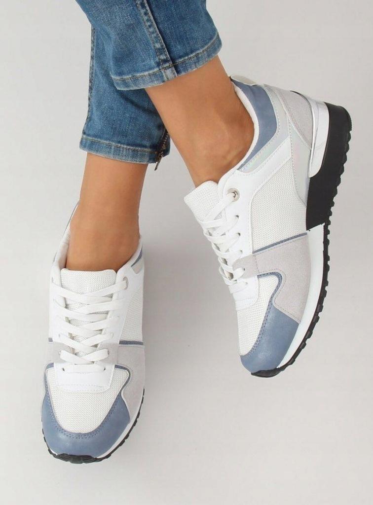 Buty sportowe białe B 01 WHITEBLUE | Trampki damskie w 2019