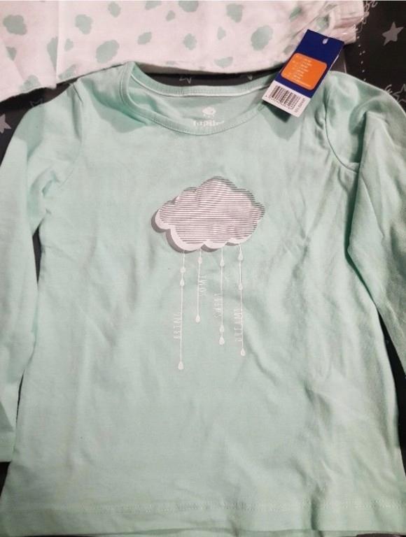 Piżama miętowa góra i białe spodnie chmurki 98/104