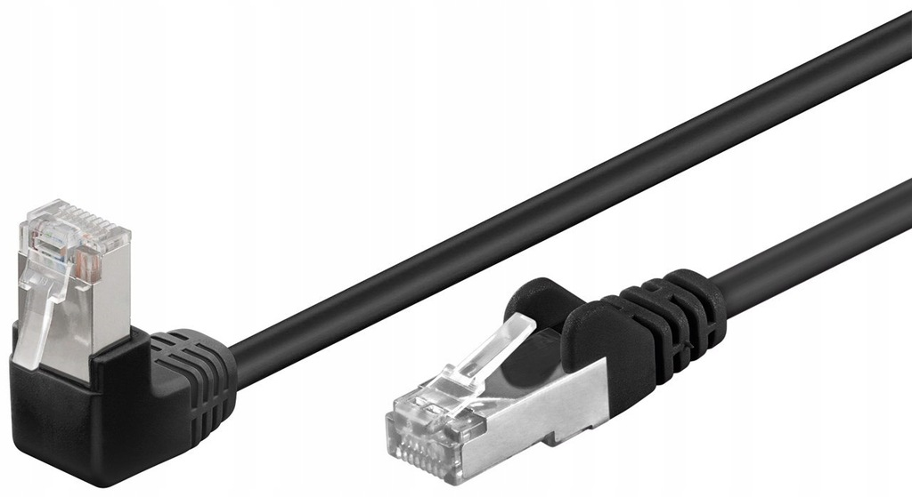 Kabel LAN Patchcord CAT 5E F/UTP 1x90 CZARNY 0,5m