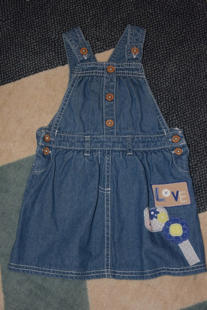 86 sukienka ogrodniczka jeansowa George 12-18 m-cy