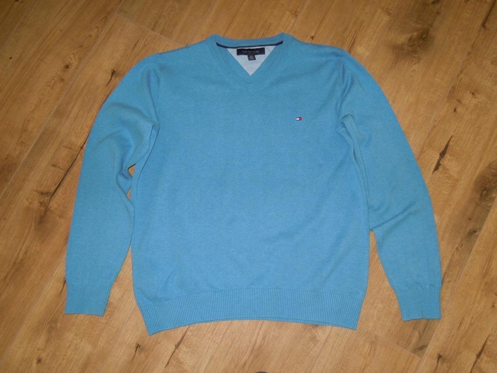 TOMMY HILFIGER niebieski sweter r.L BDB