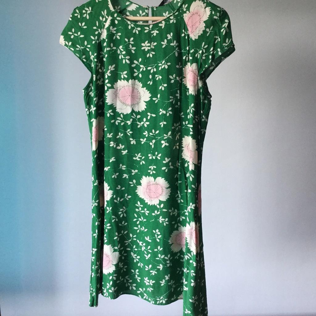 Sukienka Zara zielona różowa piwonie kwiaty M
