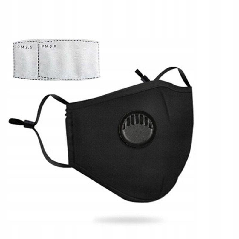 Maska z Zaworem ANTYSMOGOWA PM2.5 + 2szt filterków