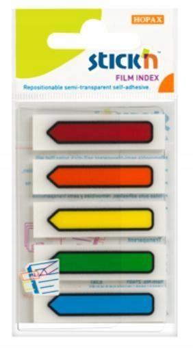 Zakładki indeks. samoprz. mix 5 kol. neon strzałki
