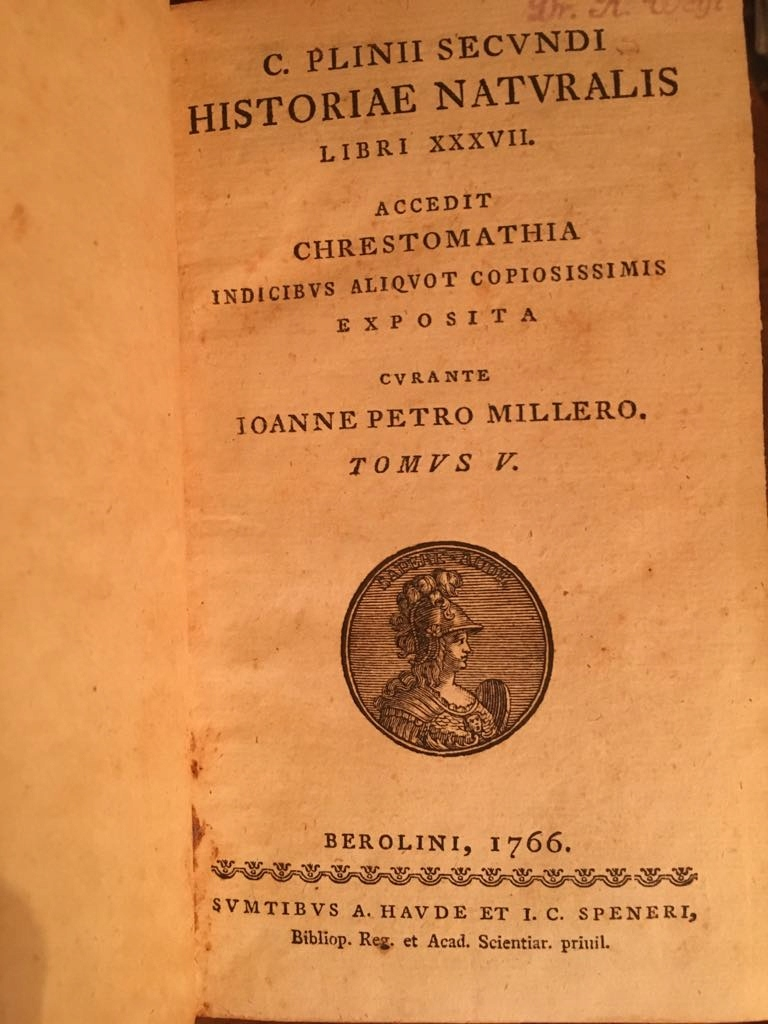Plinius S., Historiae Naturalis, 1766, starodruk