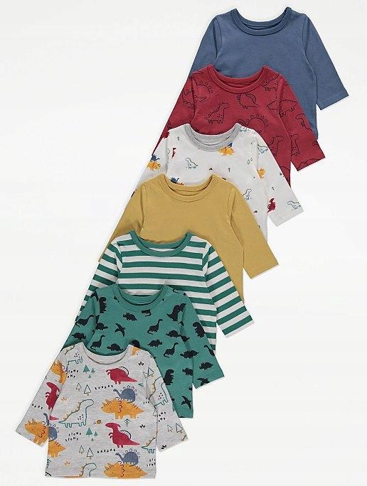 George zestaw bluzek koszulek 7 szt 9-12m 74-80cm